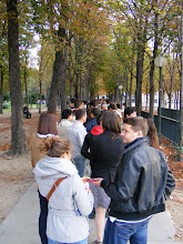 Photo: Saturday brings the start of the annual mid-September Heritage Days weekend throughout Europe, and so I detour from my Ile de France travels to spend some time in Paris, seeing things not generally accessible. I arrive a half-hour before the opening of the Elysée Palace (basically, the French White House), to find several thousand people already in line! The Palace is open to the public only on this weekend, and I have seriously underestimated the number of local folks, as well as visitors, taking advantage of this rare opportunity.