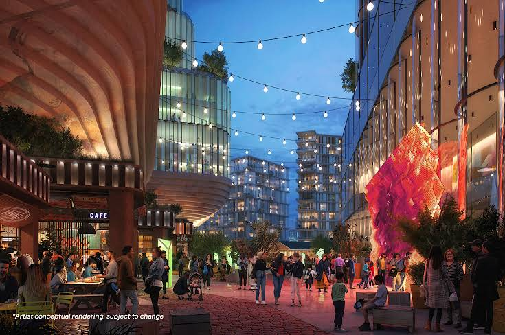 A rendering of the proposed Meander at nighttime with people walking with string and city lights in the background