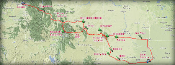 Photo: Our 3,855-mile round trip from Spokane to Lincoln, not including the 2878 mile flight from Honolulu. You can follow the map on the right to track our journey.