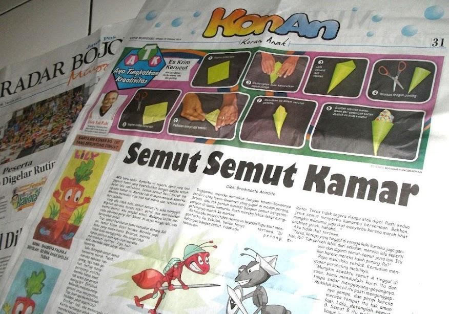 Cerpen Semut-semut Kamar, Harian Radar Bojonegoro edisi Minggu 25 Oktober 2015, Rubrik Konan (Koran Anak), halaman 31