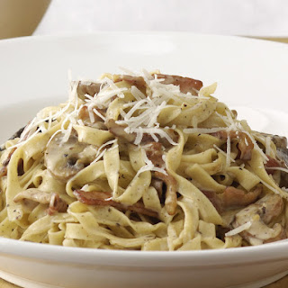 Tagliatelle Carbonara with Mushrooms.