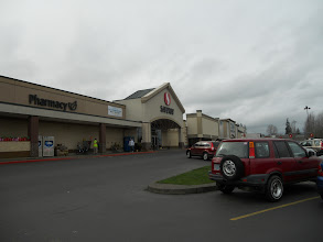 Photo: A cloudy day but it wasn't raining outside our local Safeway store.