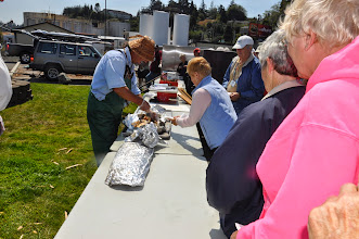 Photo: serving the salmon