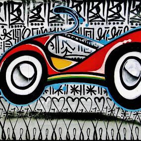 Wynwood Walls in Florida by Neil Dern - Digital Art Things ( car, color, black & white )