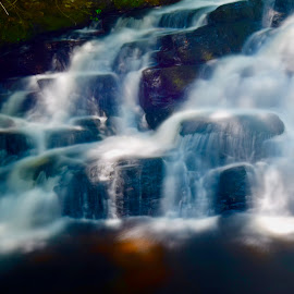 Pennell Falls by Santford Overton - Landscapes Waterscapes ( landscapes, waterscapes, leaves, stream, light, longexposure, river, water, photography )