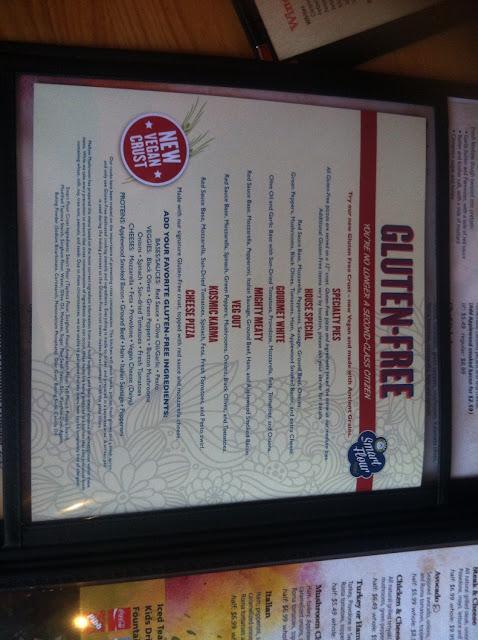 Gf pizza menu. W/dedicated kitchen space.