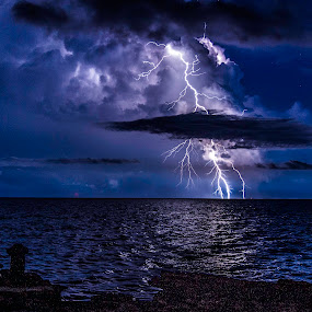 Stormy Ocean by Troy Wheatley - Landscapes Weather ( water, strike, lightning, night, #GARYFONGDRAMATICLIGHT, #WTFBOBDAVIS,  )