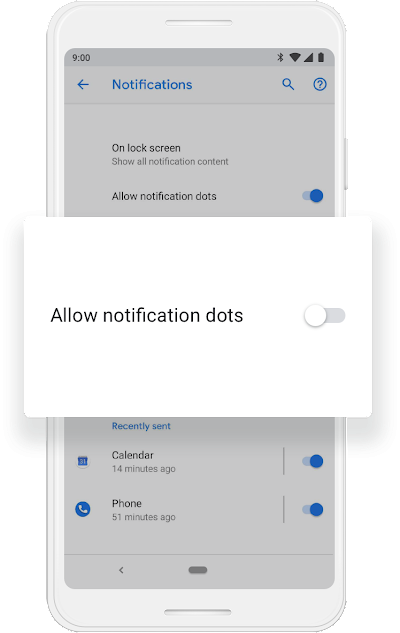 "A Google phone screen that shows the ""Allow notification dots"" being turned off."