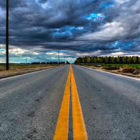 Look unto the heavens by Kevin Kent - City,  Street & Park  Street Scenes ( sky, hdr, colorful, street, yellow, road )