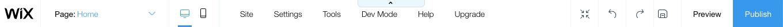 screenshot wix website navigation