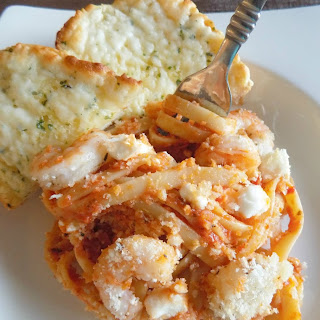 Shrimp Feta Pasta Bake.