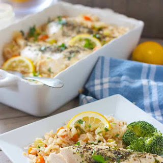 Baked Chicken Breasts with Lemon Rice Pilaf.