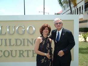 """Photo: Angela """"Gigi"""" de Lugo & her father, The Honorable Ron de Lugo (D) (Retired) at the Federal Building Dedication Ceremony for """"The Ron de Lugo Federal Building & U.S. Courthouse"""" in St Thomas , USVI - May 30, 2003"""