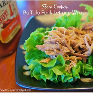 Recipe for Slow Cooker Buffalo Pork Lettuce Wraps.