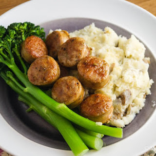 Chicken Sausage, Mashed Potatoes, and Baby Broccoli