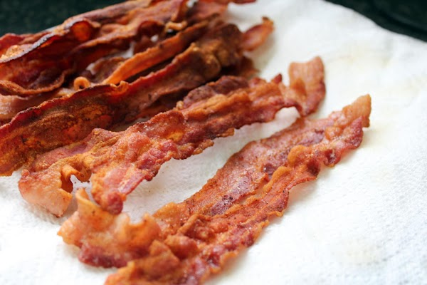 Fry bacon crisp, drain on paper towel & reserve. Crumble, if desired.
