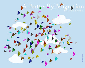 """Photo: """"A Butterfly Migration"""" was designed to be a digital counterpart to a origami mobile of the same name. The mobile featured 99 origami butterflies hanging in a groups of eleven from a square framework."""