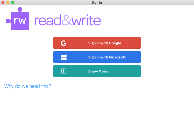 Read&Write login screen