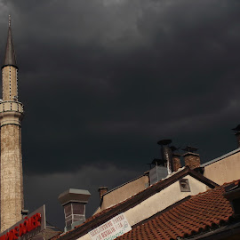 mosque clouds and roofs by Miroslav Bičanić - Buildings & Architecture Places of Worship ( clouds, minaret, mosque, roofs, sarajevo )