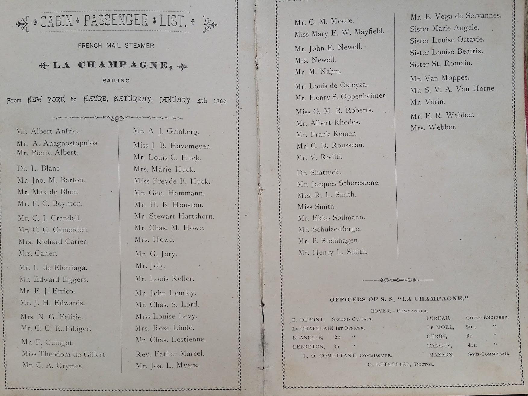 Compagnie Generale Transatlantique, New York - Le Havre - Paris, Passagierliste 1890 - La Champagne