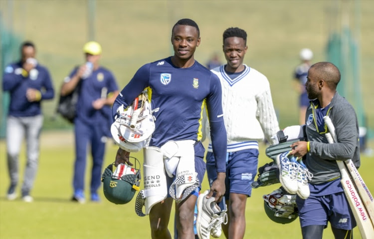 Kagiso Rabada and Temba Bavuma of the Proteas during the Standard Bank Proteas Media Opportunity at TUKS Cricket Oval on June 12, 2018 in Pretoria, South Africa.