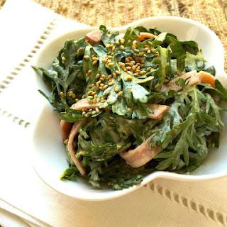 Shungiku (Japanese Greens) and Ham Salad with Sesame Dressing Recipe
