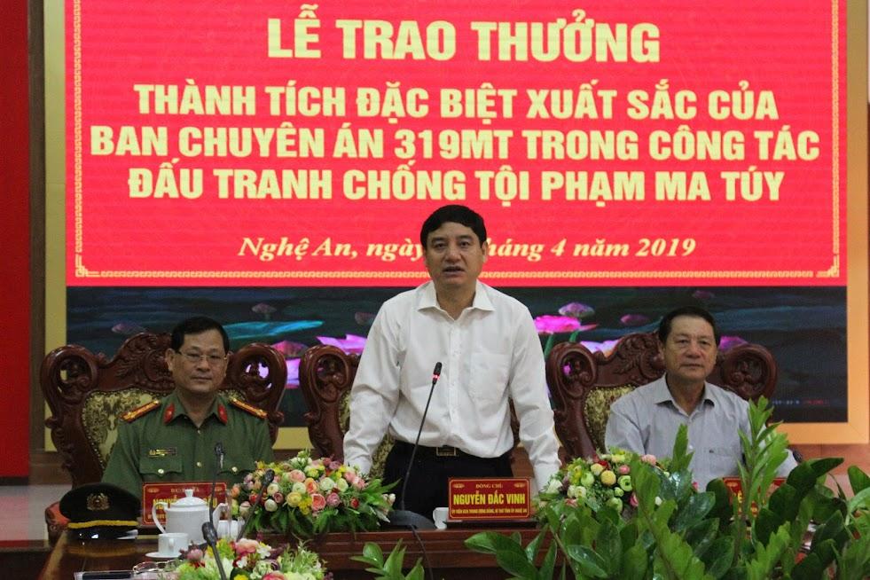 Đồng chí Nguyễn Đắc Vinh, Bí thư Tỉnh ủy biểu dương thành tích xuất sắc của Ban chuyên án