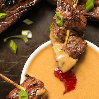 Beef Satay Skewers with Peanut Dipping Sauce {Healthy New Year Challenge - Week 4!} Recipe