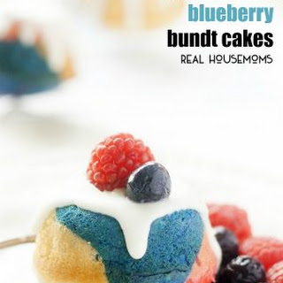 Mini Red. White, And Blueberry Bundt Cakes.