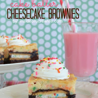 Cake Batter Cheesecake Brownies.