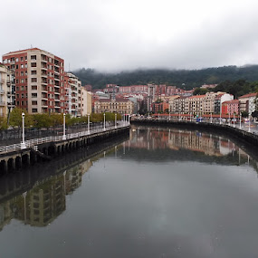 Bilbao, Spain by Luis Felipe Moreno Vázquez - Instagram & Mobile Android ( water, ria, bilbao, buildings, reflections, spain )