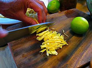 Photo: slicing rolled egg crepes to make egg shreds