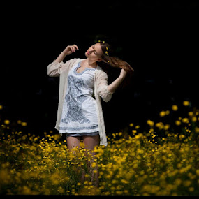 by Alex Newstead - People Portraits of Women ( field, girl, grass, forest, flowers, pretty, portrait, buttercup )