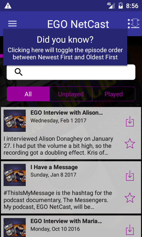 EGO NetCast- screenshot