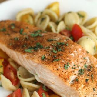 Easy Baked Salmon over Orecchiette with Raw Tomato Sauce