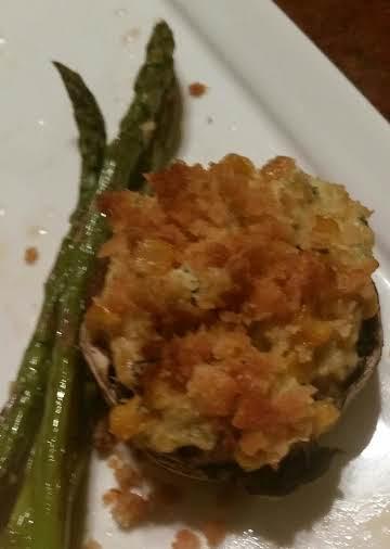 Mertzie's crab chowder stuffed shrooms