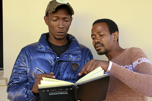 Vital theatre: Theatre director Mfundo Msibi, left, exchanges notes with The Voice from Kilimanjaro producer Majesty Mnyandu, who are taking the anti-xenophobia musical to the Arts Alive Festival, after its successful run at the Soweto Theatre recently. Picture: SUPPLIED
