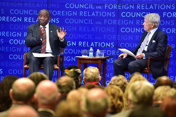 President Cyril Ramaphosa in conversation with Evercore senior chairman Roger Altman at the Council for Foreign Relations, New York, September 24, 2018. Picture: GCIS / ELMOND JIYANE