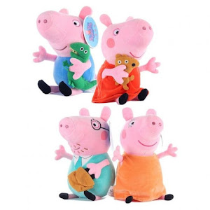 Set 4 plusuri 40 cm, Familia Peppa Pig