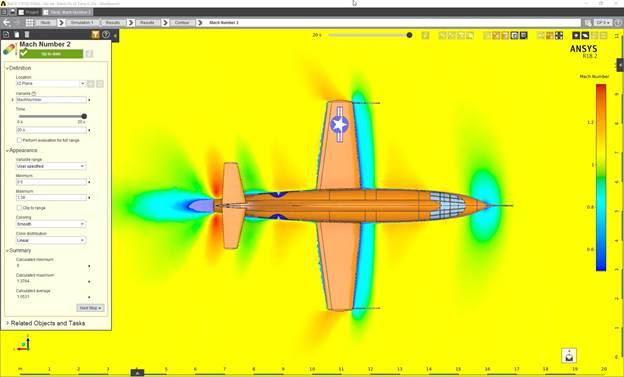 ANSYS | Распределение числа Маха в плоскости крыла