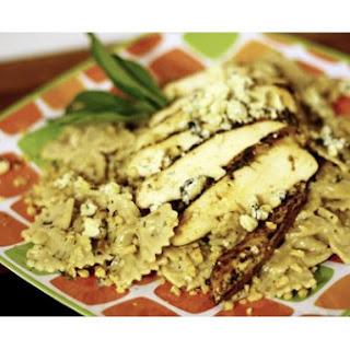 Grilled Chicken Pasta With Gorgonzola Walnut Cream Sauce.