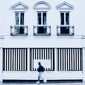 Monochrome Stripes by Sue Fisher - City,  Street & Park  Street Scenes ( stripes, shop, london, monochrome, sloanestreet )