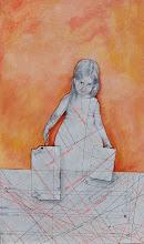 """Photo: """"BAGAGLI""""  anno 2012 22x37  acrilico e grafite su carta applicata su tavola  collezione privata © tutti i diritti riservati"""