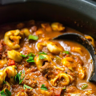 Slow Cooker Spicy Beef Tortellini Soup.