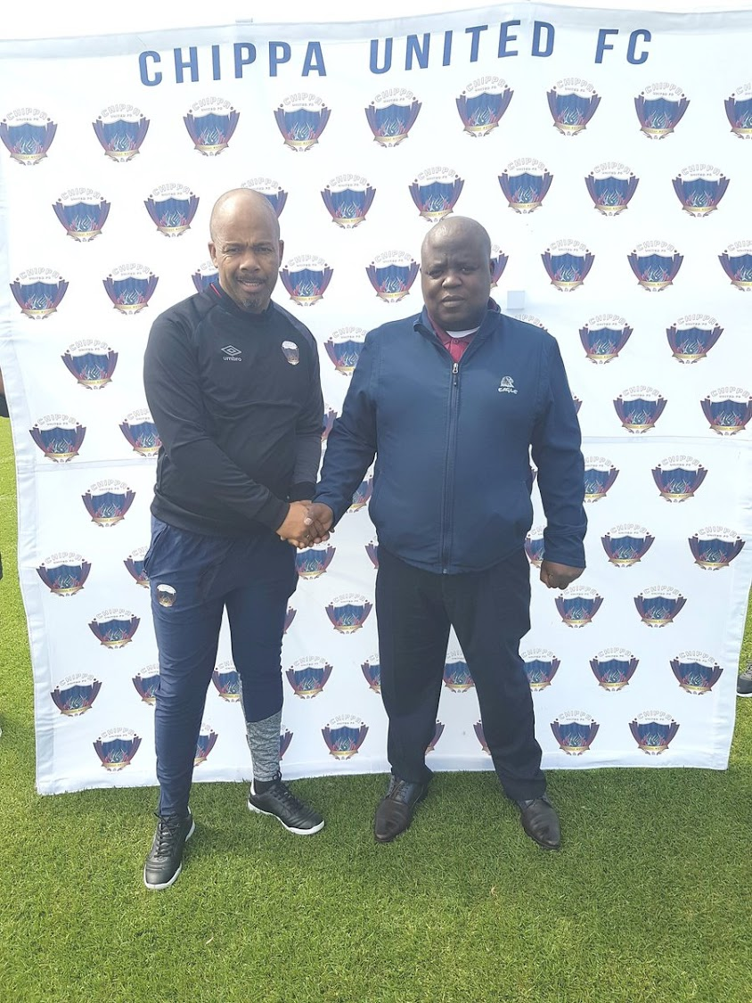 Newly appointed Chippa Untied caretaker caoch Teboho Moloi (L) poses for a photo with chairman Siviwe