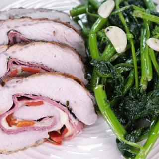 Salami and Provolone Stuffed Pork Loin with Sauteed Broccoli Rabe.