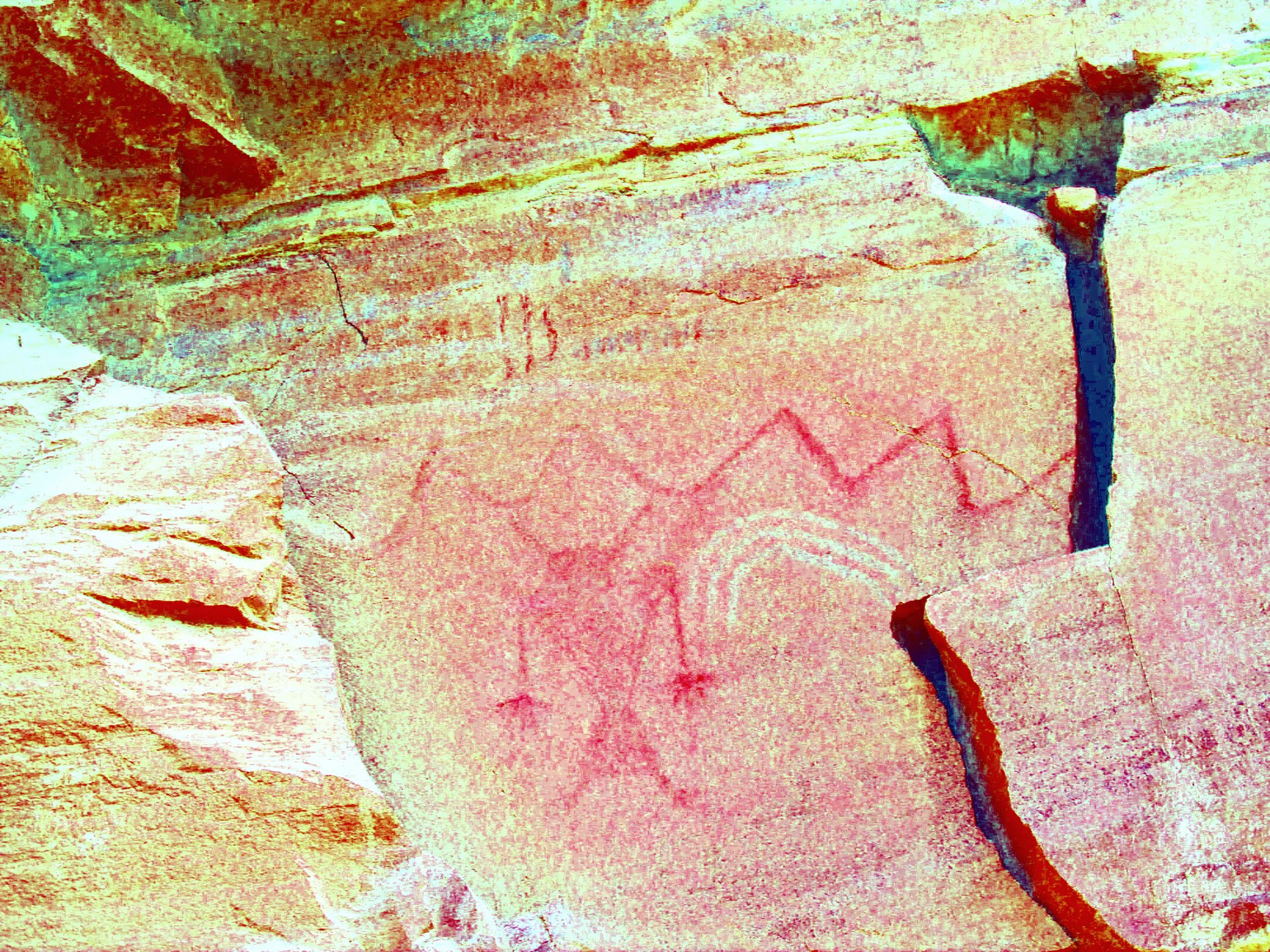 Photo: DStretch enhanced pictos showing horned Fremont figure