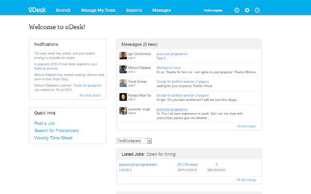 oDesk Client Dashboard