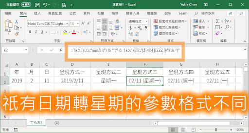 Excel 與 Google Drive 祇有日期轉星期的參數格式不同