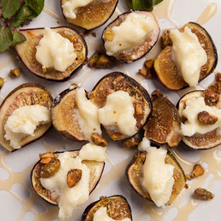 Honey Roasted Figs with Mascarpone and Candied Pistachios